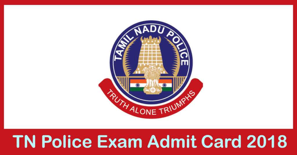 TN Police Si Admit card 2018